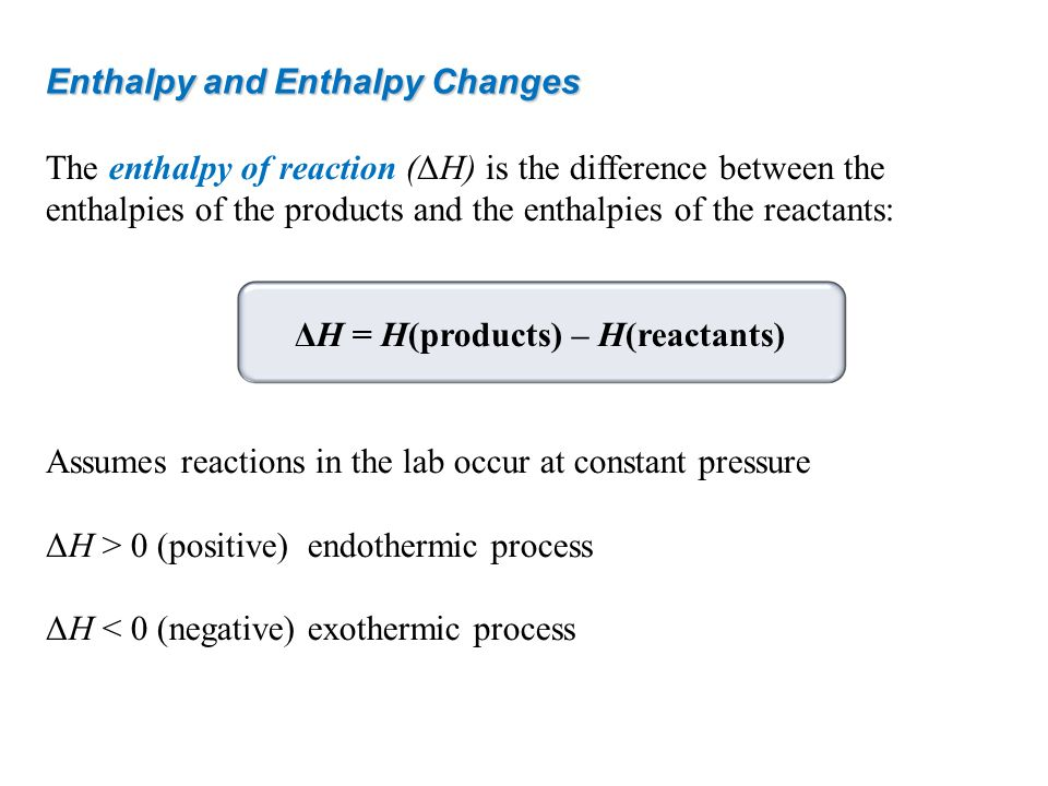 Enthalpy and Enthalpy Changes The enthalpy of reaction (ΔH) is the difference between the enthalpies of the products and the enthalpies of the reactan