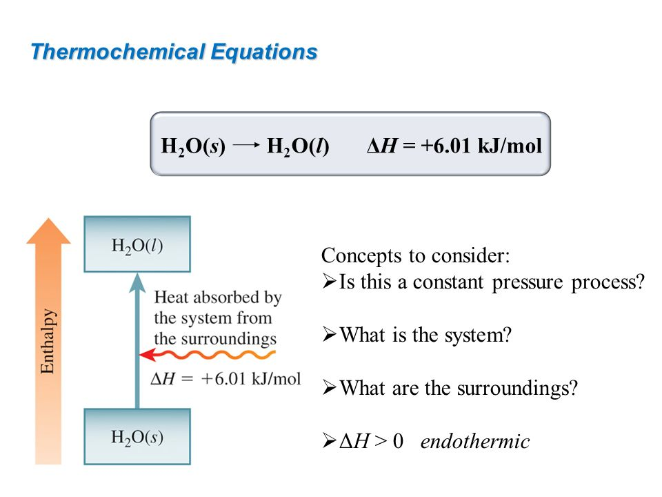 Thermochemical Equations Concepts to consider: Is this a constant pressure process? What is the system? What are the surroundings? ΔH > 0endothermic H