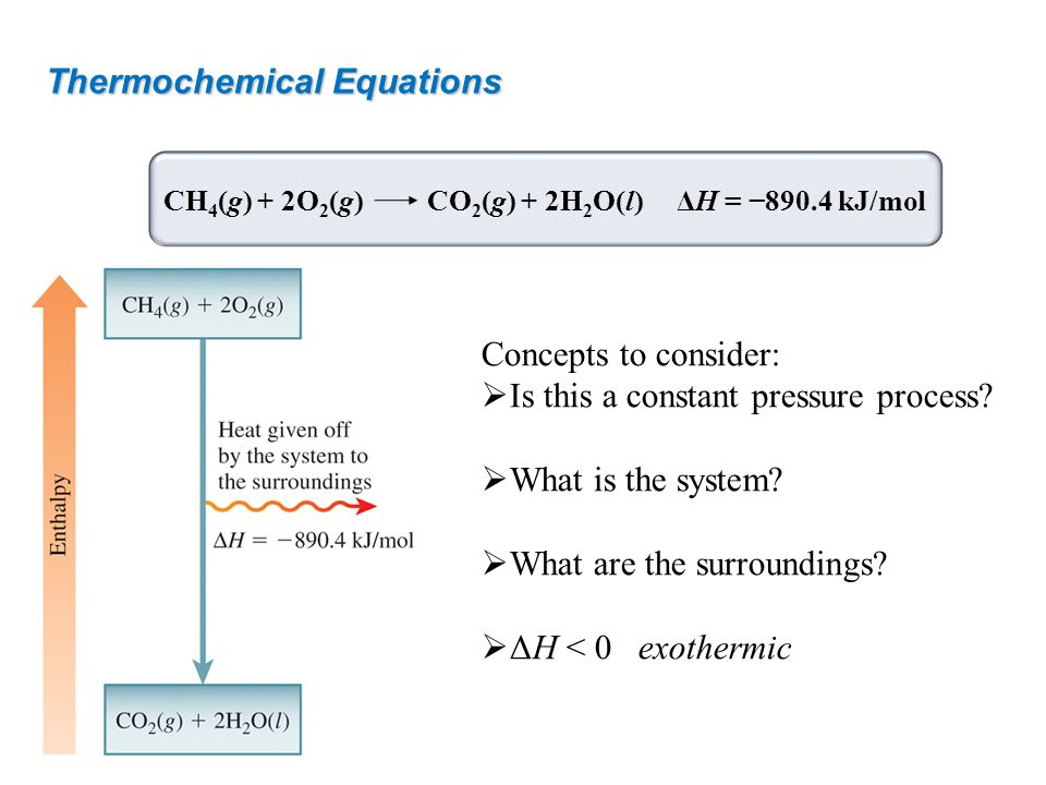 Thermochemical Equations Concepts to consider: Is this a constant pressure process? What is the system? What are the surroundings? ΔH < 0exothermic CH
