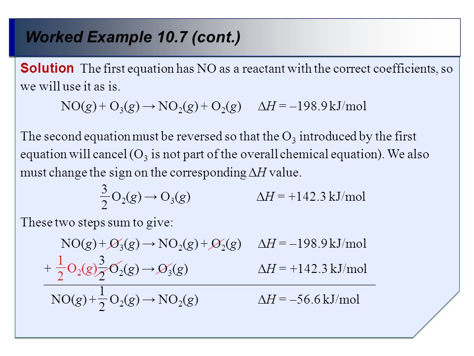 Worked Example 10.7 (cont.) Solution The first equation has NO as a reactant with the correct coefficients, so we will use it as is. The second equati