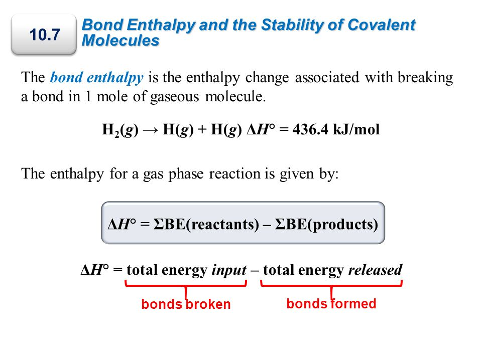 Bond Enthalpy and the Stability of Covalent Molecules The bond enthalpy is the enthalpy change associated with breaking a bond in 1 mole of gaseous mo