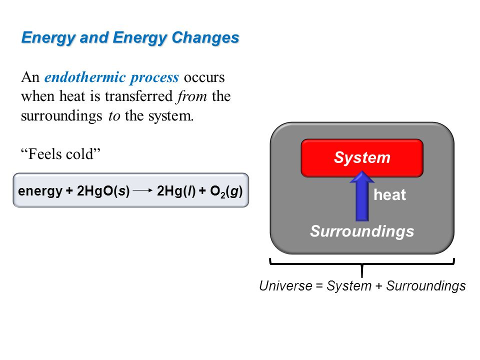 Energy and Energy Changes An endothermic process occurs when heat is transferred from the surroundings to the system. Feels cold energy + 2HgO(s)2Hg(l