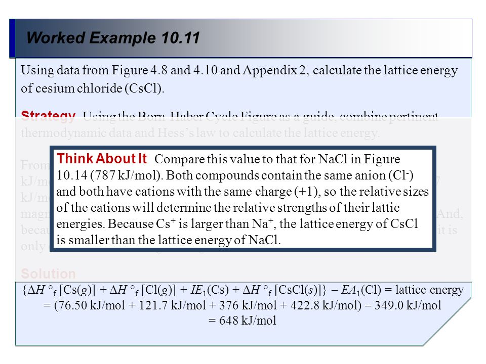 Worked Example 10.11 Strategy Using the Born-Haber Cycle Figure as a guide, combine pertinent thermodynamic data and Hesss law to calculate the lattic