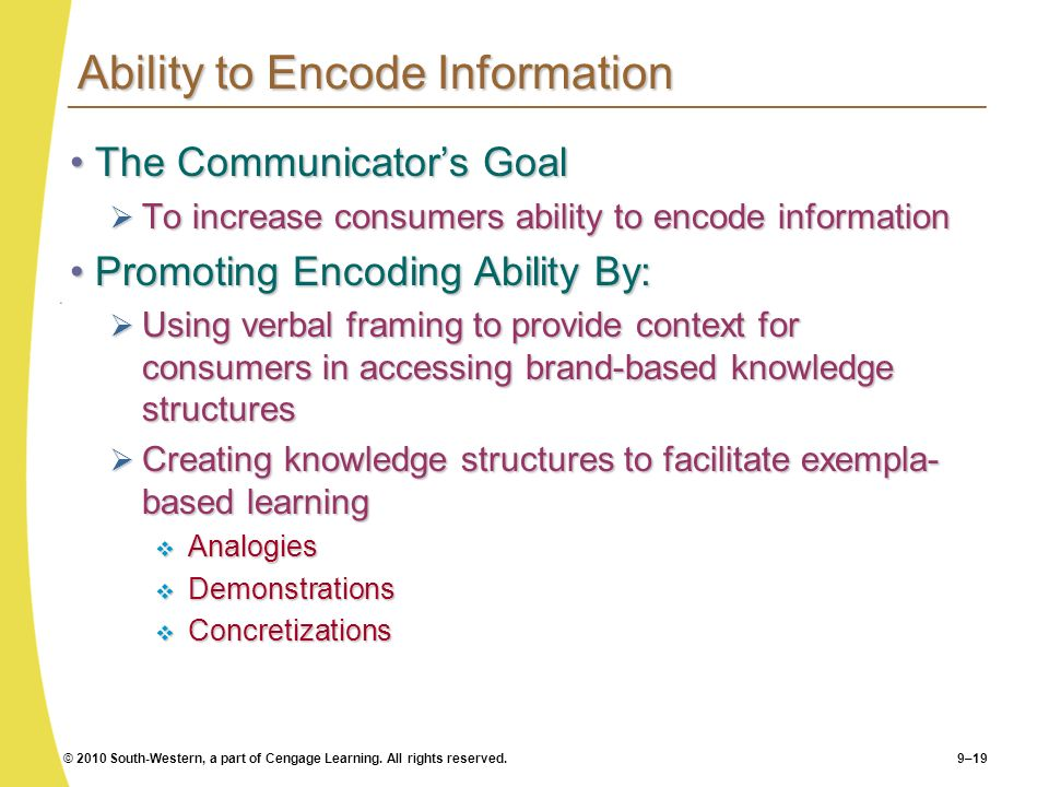 © 2010 South-Western, a part of Cengage Learning. All rights reserved.9–19 Ability to Encode Information The Communicators GoalThe Communicators Goal