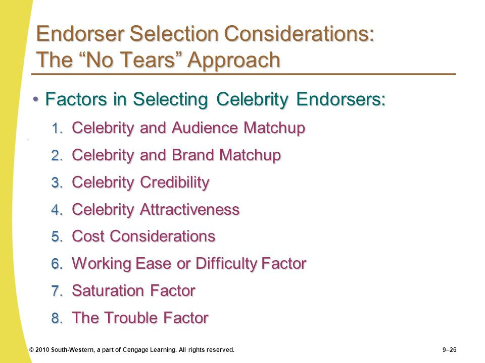 © 2010 South-Western, a part of Cengage Learning. All rights reserved.9–26 Endorser Selection Considerations: The No Tears Approach Factors in Selecti