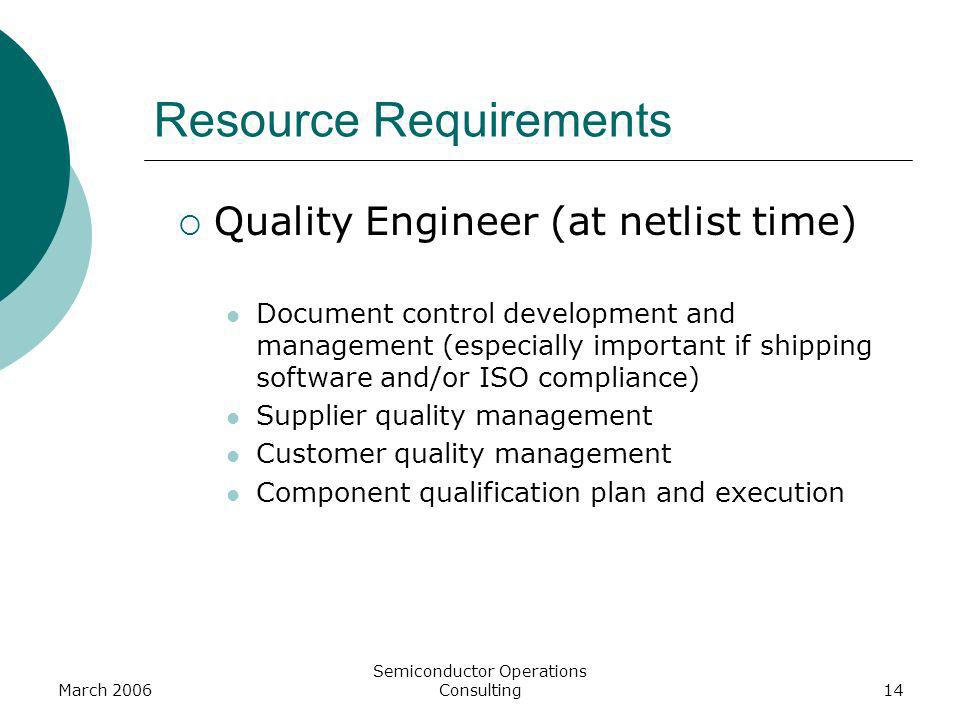 March 2006 Semiconductor Operations Consulting14 Resource Requirements Quality Engineer (at netlist time) Document control development and management