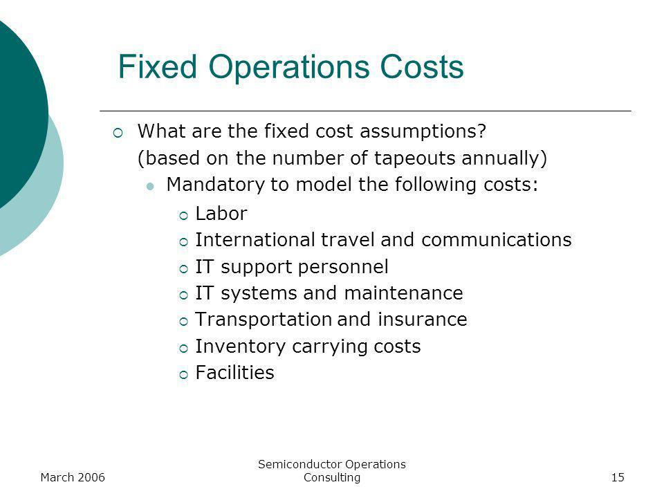 March 2006 Semiconductor Operations Consulting15 Fixed Operations Costs What are the fixed cost assumptions? (based on the number of tapeouts annually
