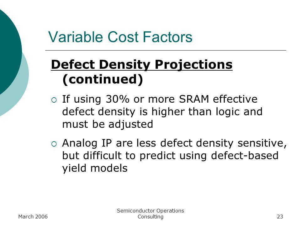 March 2006 Semiconductor Operations Consulting23 Defect Density Projections (continued) If using 30% or more SRAM effective defect density is higher t