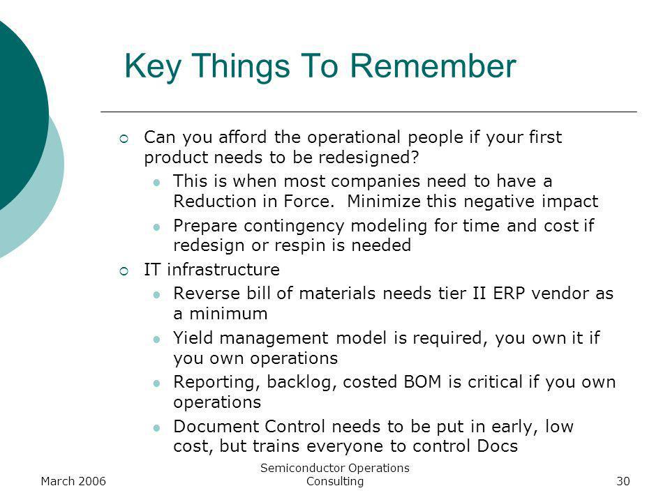 March 2006 Semiconductor Operations Consulting30 Key Things To Remember Can you afford the operational people if your first product needs to be redesi