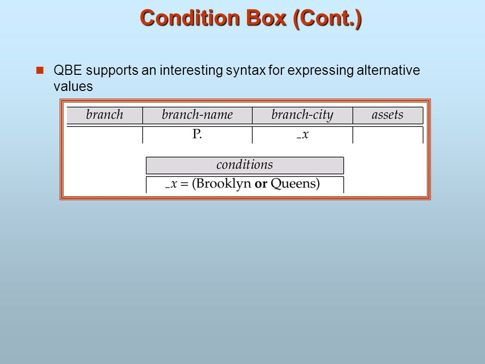 Condition Box (Cont.) QBE supports an interesting syntax for expressing alternative values