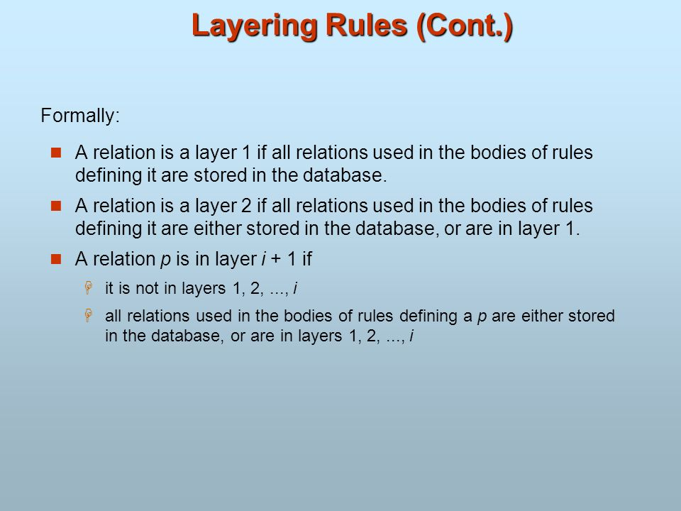 Layering Rules (Cont.) A relation is a layer 1 if all relations used in the bodies of rules defining it are stored in the database. A relation is a la