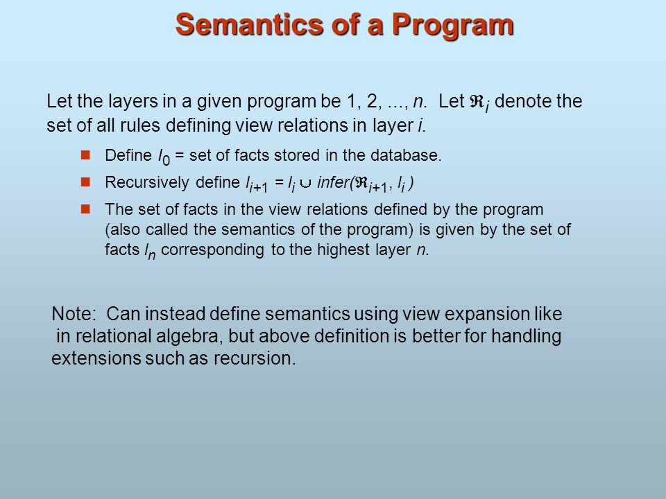 Semantics of a Program Define I 0 = set of facts stored in the database. Recursively define l i+1 = l i infer( i+1, l i ) The set of facts in the view