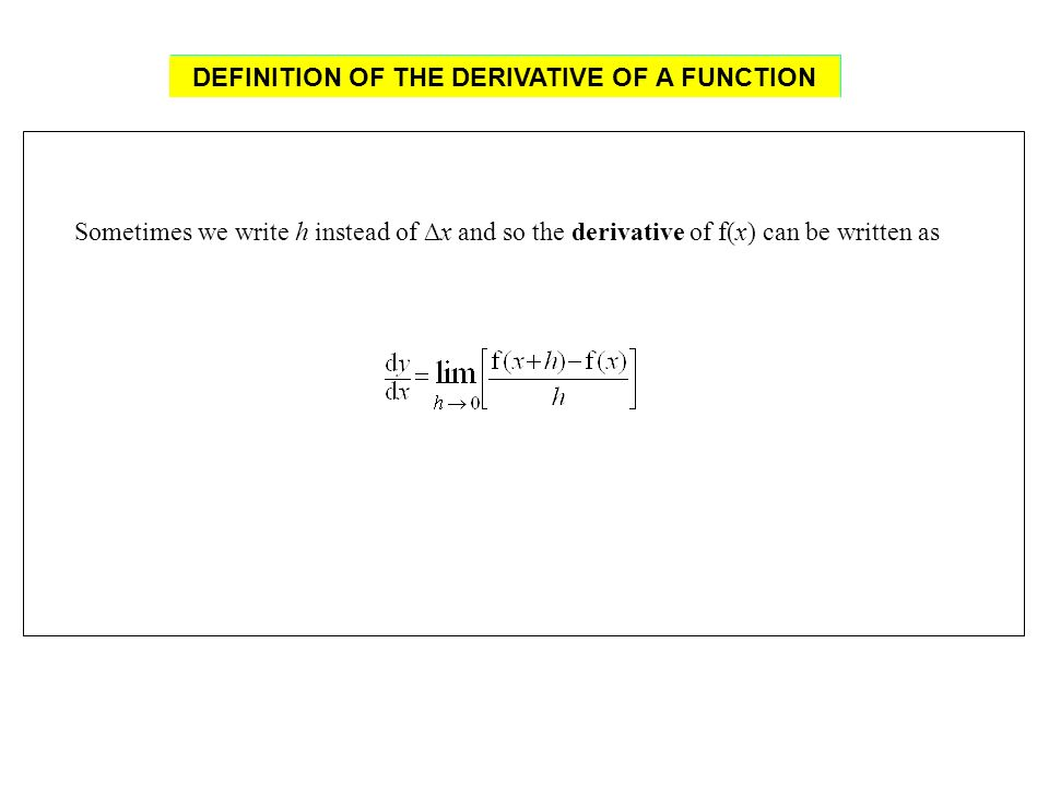 Sometimes we write h instead of x and so the derivative of f(x) can be written as DEFINITION OF THE DERIVATIVE OF A FUNCTION DEFINITION OF THE DERIVAT