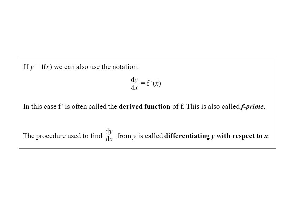 If y = f(x) we can also use the notation: = f (x) In this case f is often called the derived function of f. This is also called f-prime. The procedure