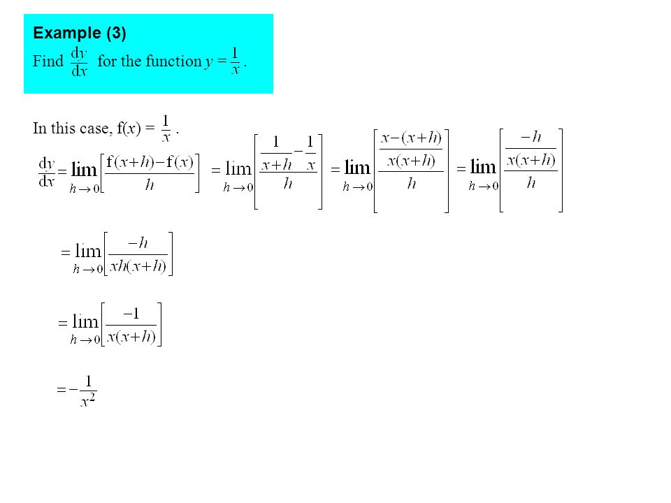 Find for the function y =. Example (3) In this case, f(x) =.