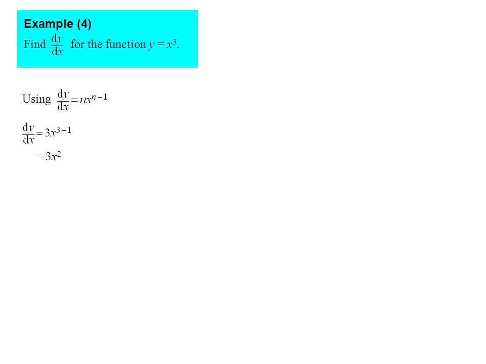 Find for the function y = x 3. Example (4) Using = 3x 2
