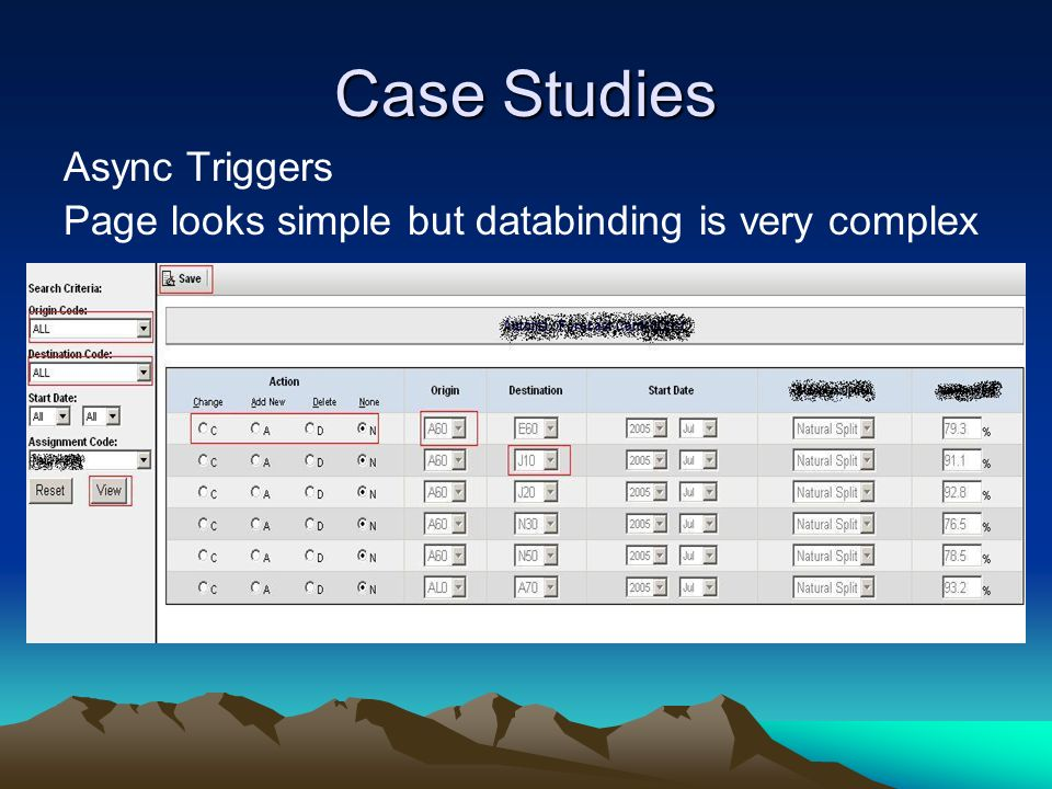 Case Studies Async Triggers Page looks simple but databinding is very complex