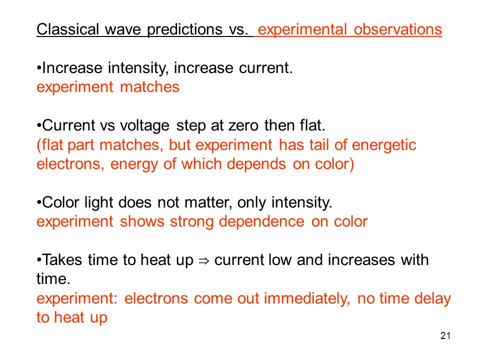 21 Classical wave predictions vs. experimental observations Increase intensity, increase current. experiment matches Current vs voltage step at zero t