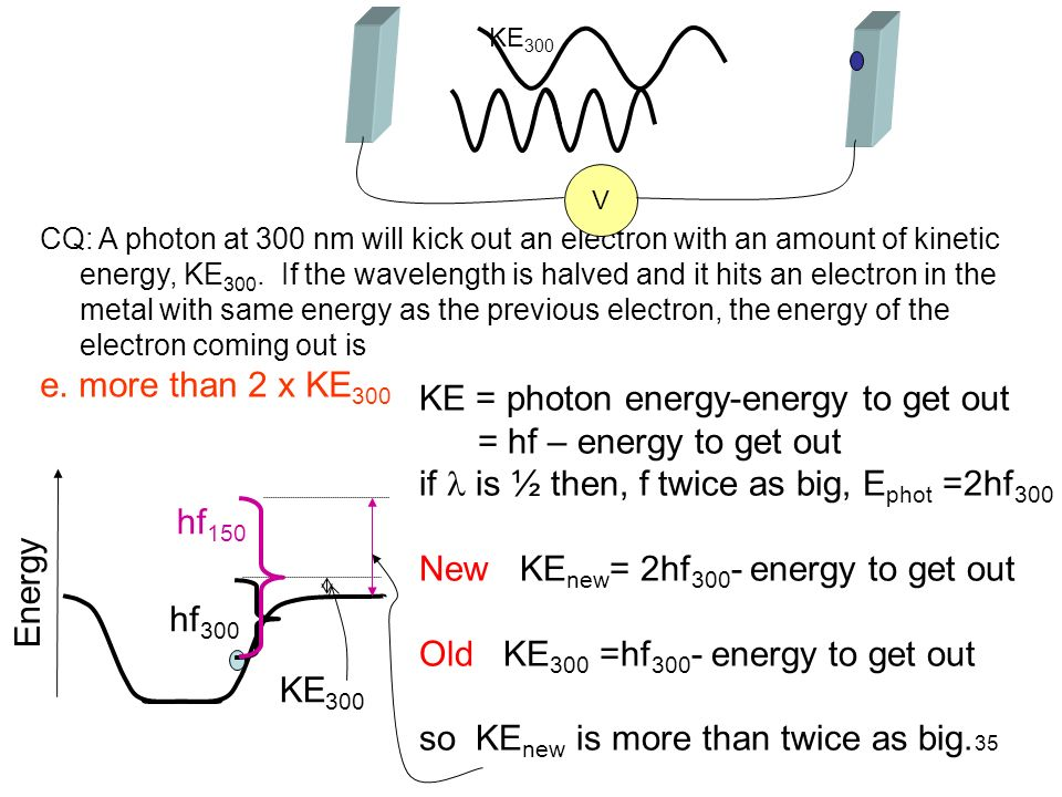 35 CQ: A photon at 300 nm will kick out an electron with an amount of kinetic energy, KE 300. If the wavelength is halved and it hits an electron in t