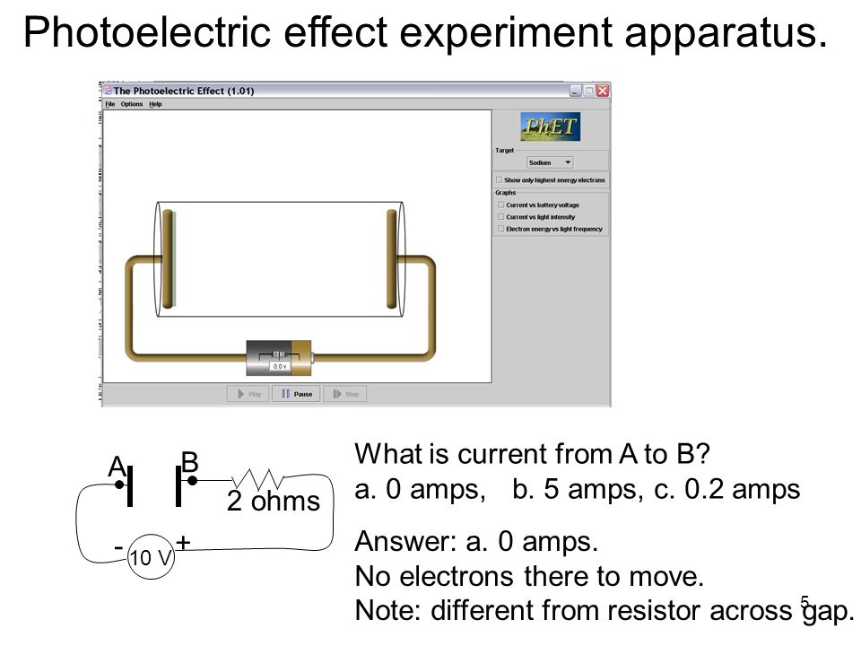 5 Photoelectric effect experiment apparatus. 10 V A B + - What is current from A to B? a. 0 amps, b. 5 amps, c. 0.2 amps 2 ohms Answer: a. 0 amps. No