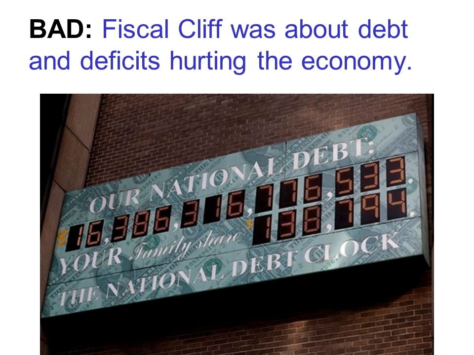 BAD: Fiscal Cliff was about debt and deficits hurting the economy.