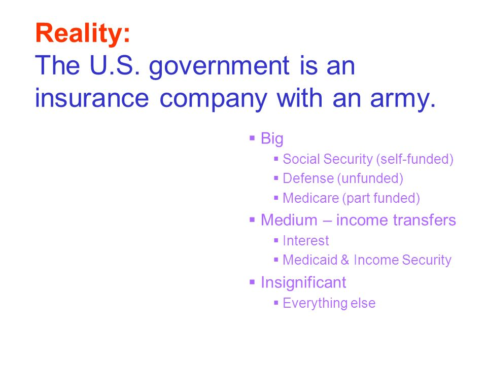 Reality: The U.S. government is an insurance company with an army. Big Social Security (self-funded) Defense (unfunded) Medicare (part funded) Medium