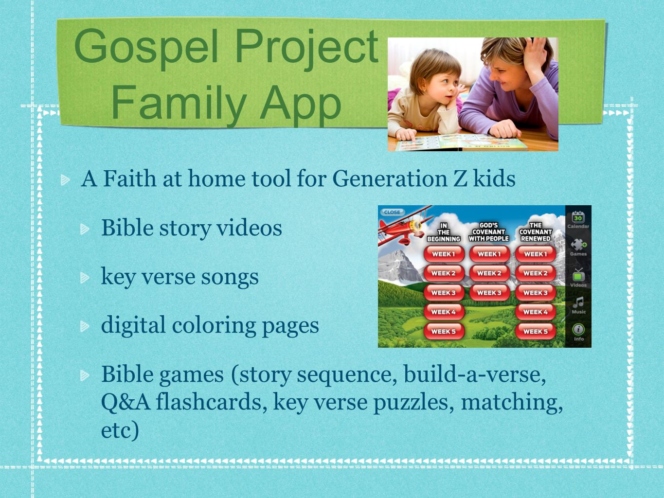 Gospel Project Family App A Faith at home tool for Generation Z kids Bible story videos key verse songs digital coloring pages Bible games (story sequ