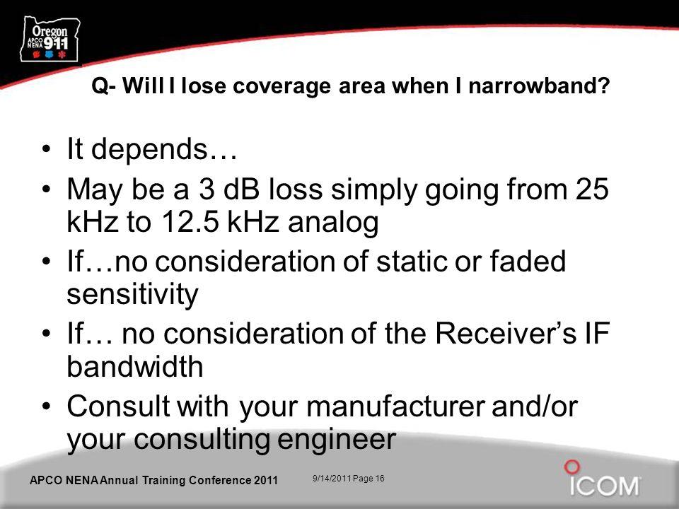 9/14/2011 Page 16 APCO NENA Annual Training Conference 2011 Q- Will I lose coverage area when I narrowband.