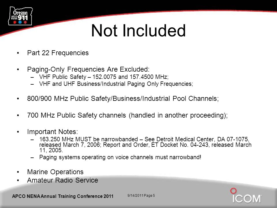 9/14/2011 Page 5 APCO NENA Annual Training Conference 2011 Not Included Part 22 Frequencies Paging-Only Frequencies Are Excluded: –VHF Public Safety –