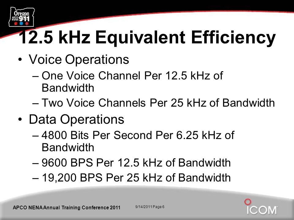 9/14/2011 Page 6 APCO NENA Annual Training Conference 2011 12.5 kHz Equivalent Efficiency Voice Operations –One Voice Channel Per 12.5 kHz of Bandwidt