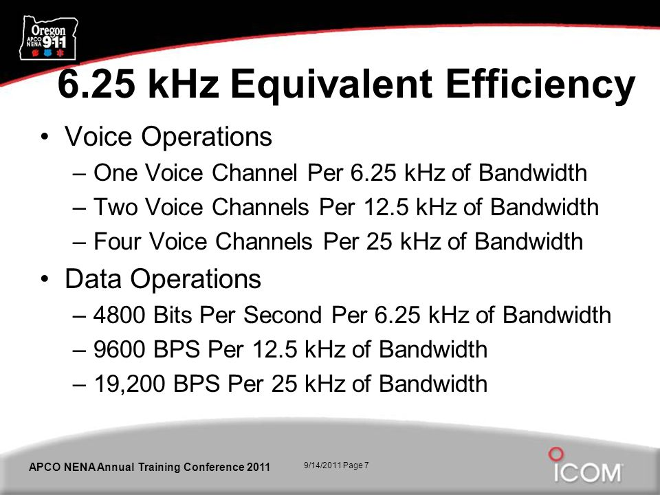 9/14/2011 Page 7 APCO NENA Annual Training Conference 2011 6.25 kHz Equivalent Efficiency Voice Operations –One Voice Channel Per 6.25 kHz of Bandwidth –Two Voice Channels Per 12.5 kHz of Bandwidth –Four Voice Channels Per 25 kHz of Bandwidth Data Operations –4800 Bits Per Second Per 6.25 kHz of Bandwidth –9600 BPS Per 12.5 kHz of Bandwidth –19,200 BPS Per 25 kHz of Bandwidth