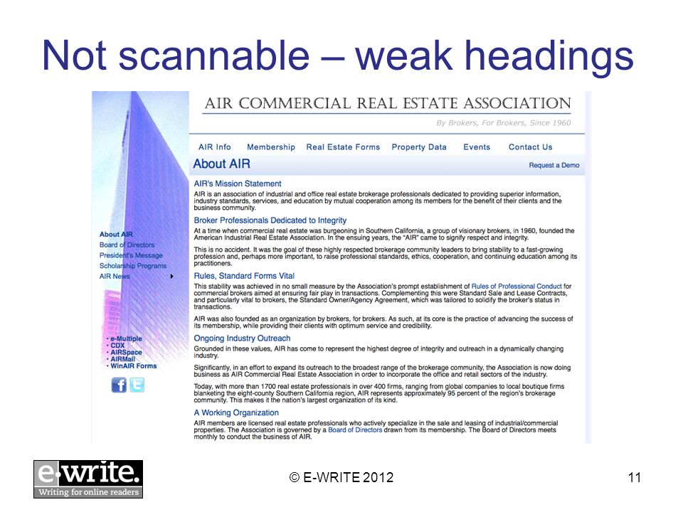 Not scannable – weak headings © E-WRITE 201211