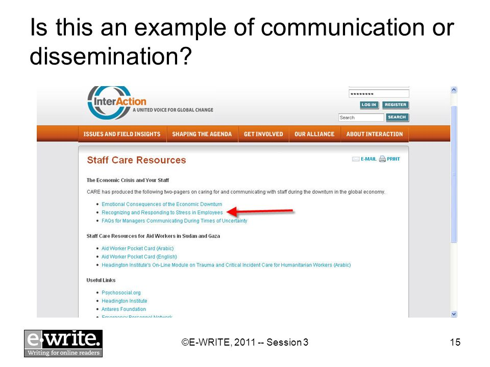 ©E-WRITE, 2011 -- Session 315 Is this an example of communication or dissemination