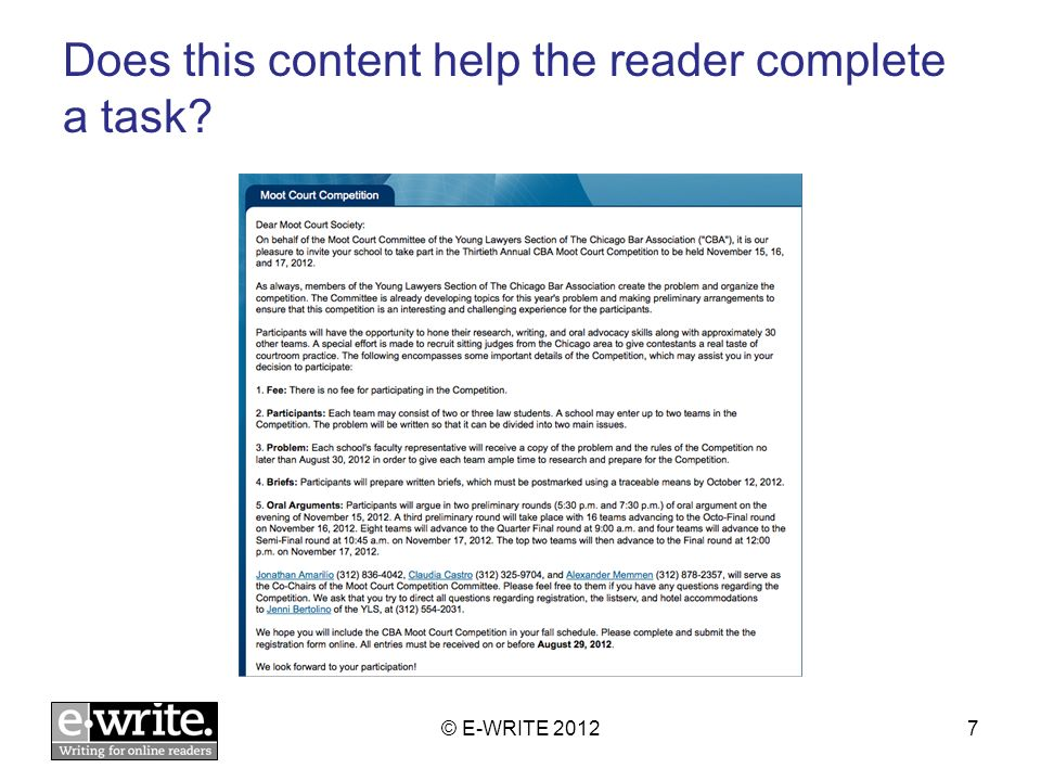 Does this content help the reader complete a task © E-WRITE 20127