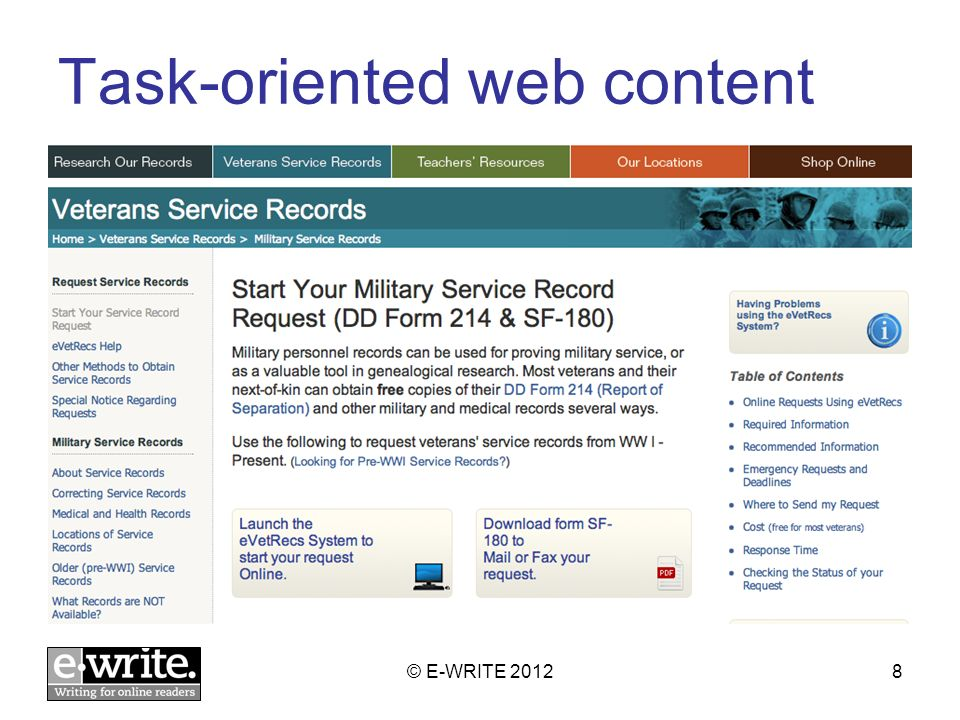 Task-oriented web content © E-WRITE 20128