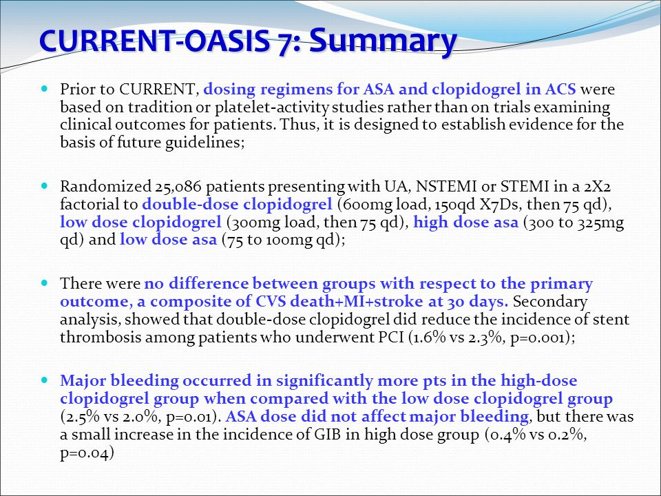CURRENT-OASIS 7: Summary Prior to CURRENT, dosing regimens for ASA and clopidogrel in ACS were based on tradition or platelet-activity studies rather
