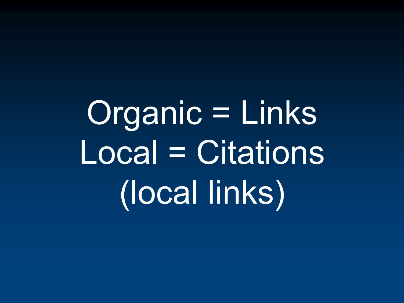 Organic = Links Local = Citations (local links)