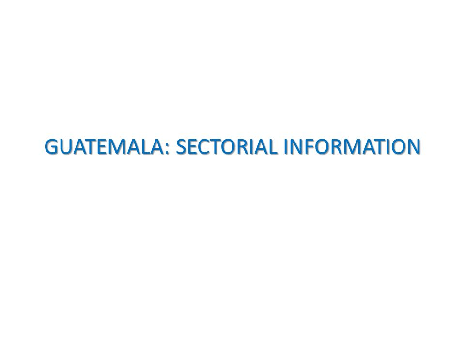 GUATEMALA: SECTORIAL INFORMATION