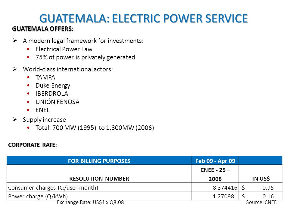 CORPORATE RATE: FOR BILLING PURPOSESFeb 09 - Apr 09 RESOLUTION NUMBER CNEE - 25 – 2008 IN US$ Consumer charges (Q/user-month)8.374416 $ 0.95 Power cha