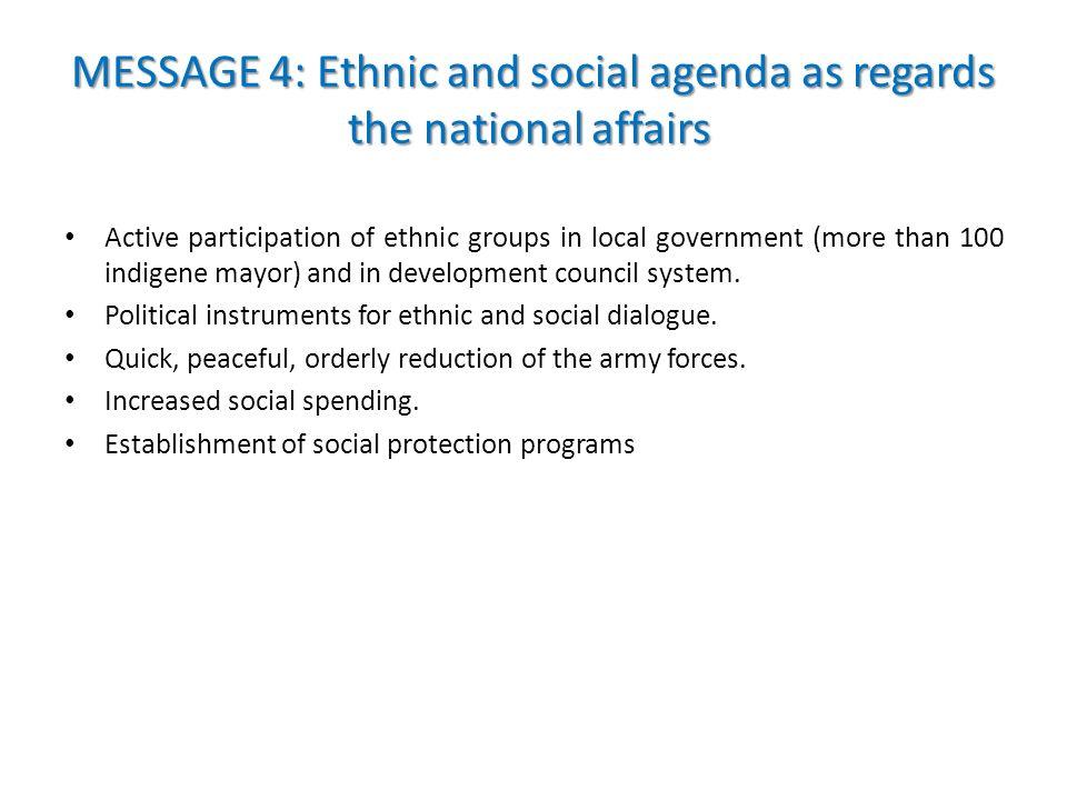 MESSAGE 4: Ethnic and social agenda as regards the national affairs MESSAGE 4: Ethnic and social agenda as regards the national affairs Active partici