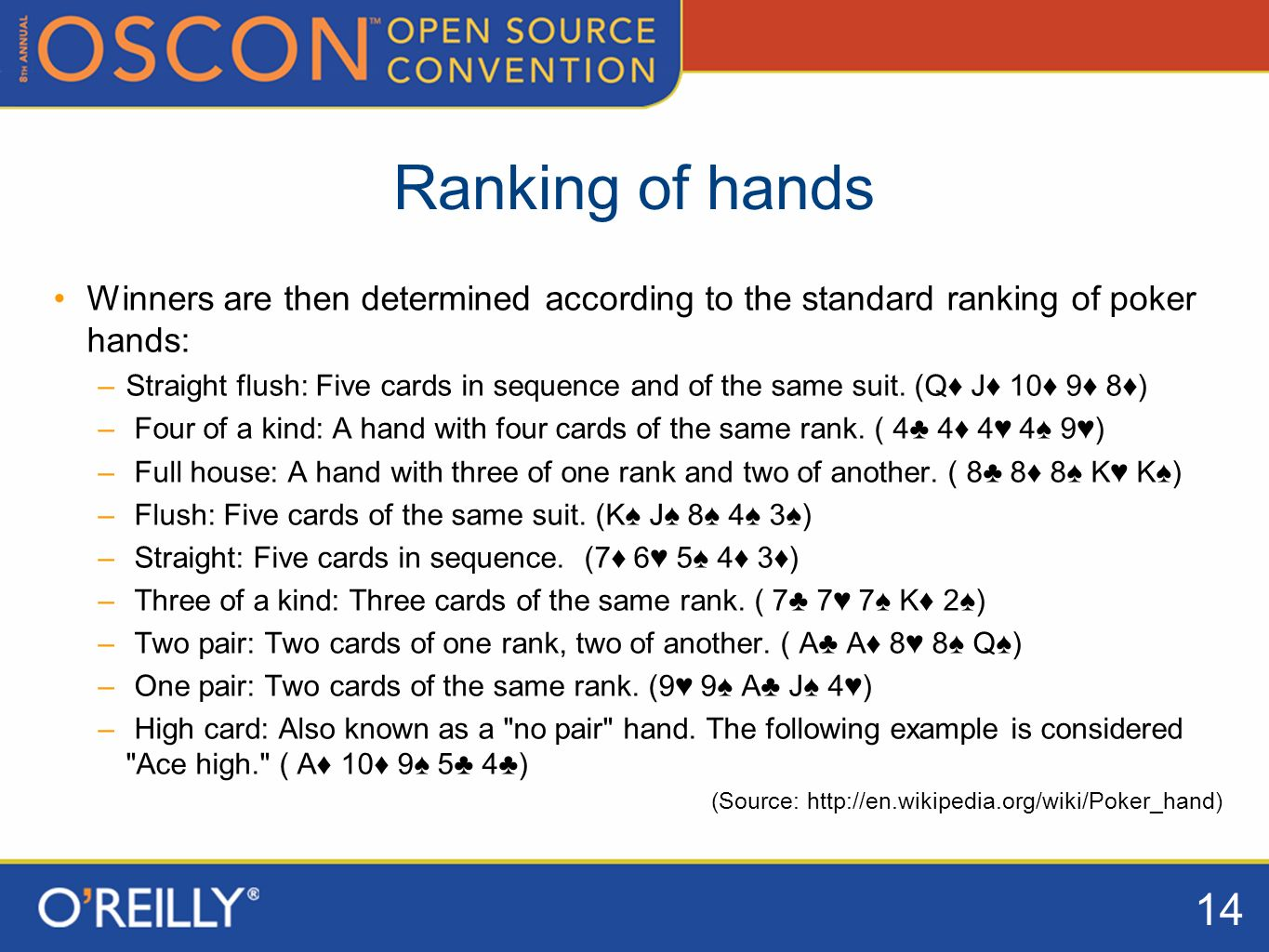 14 Ranking of hands Winners are then determined according to the standard ranking of poker hands: –Straight flush: Five cards in sequence and of the same suit.