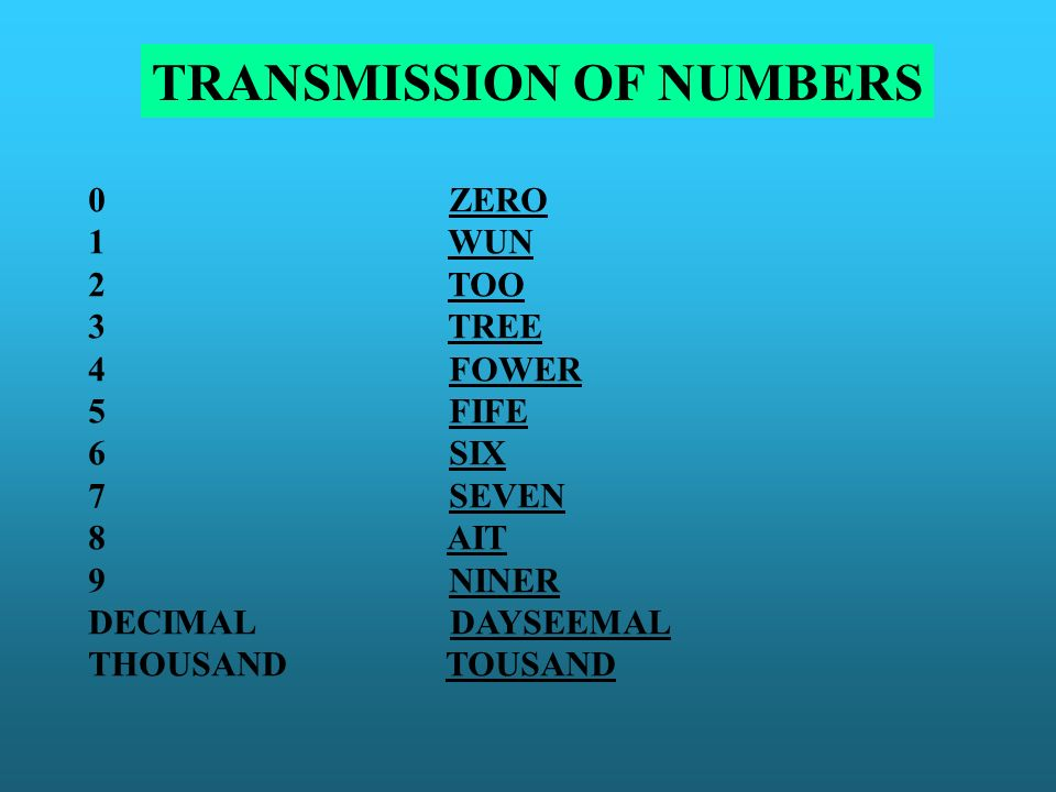 TRANSMISSION OF NUMBERS 0 ZERO 1 WUN 2 TOO 3 TREE 4 FOWER 5 FIFE 6 SIX 7 SEVEN 8 AIT 9 NINER DECIMAL DAYSEEMAL THOUSAND TOUSAND