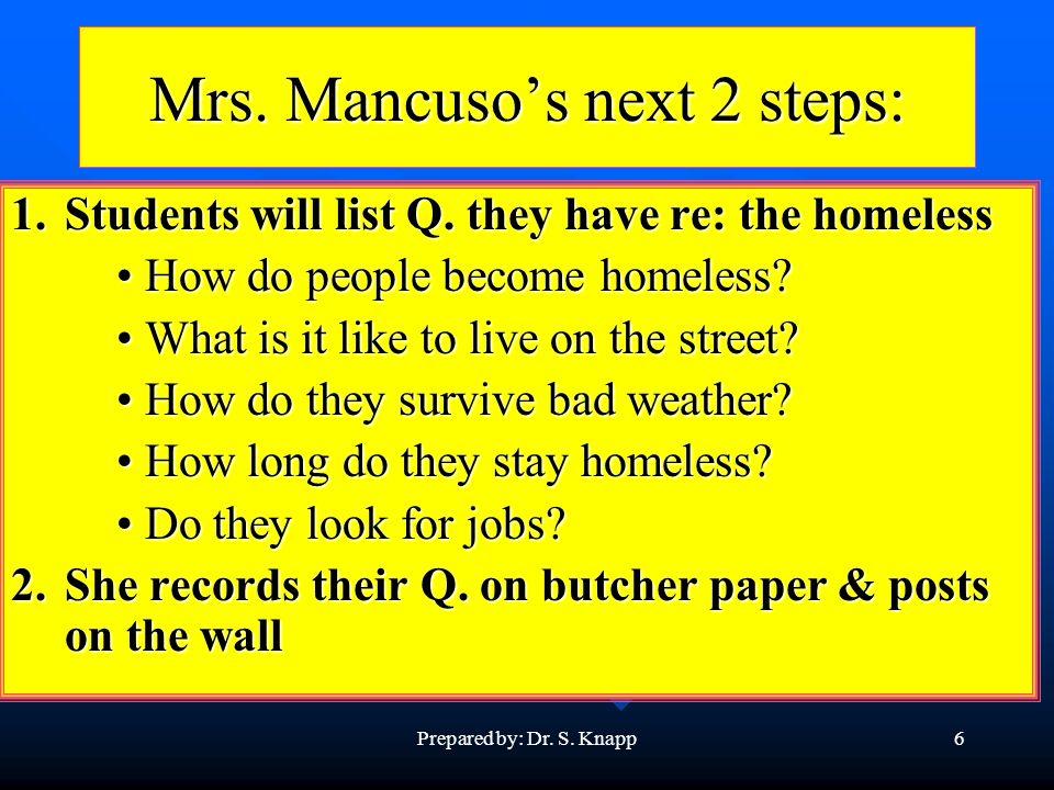 Prepared by: Dr. S. Knapp6 Mrs. Mancusos next 2 steps: 1.Students will list Q.
