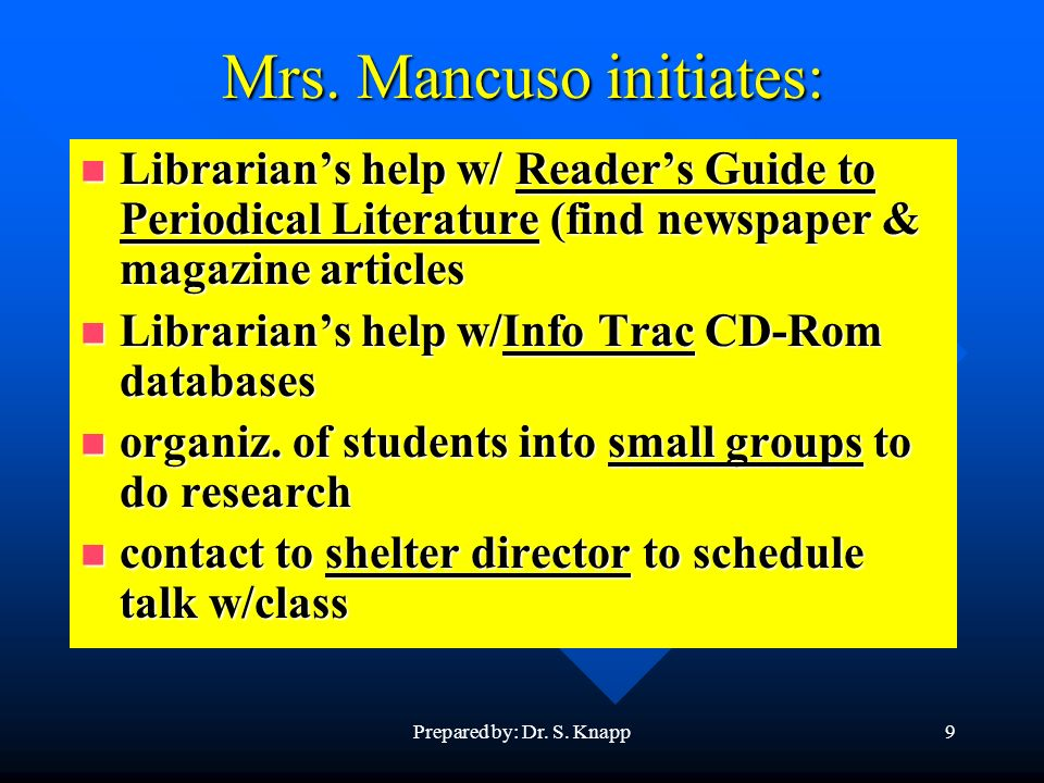Prepared by: Dr. S. Knapp9 Mrs. Mancuso initiates: Librarians help w/ Readers Guide to Periodical Literature (find newspaper & magazine articles Libra