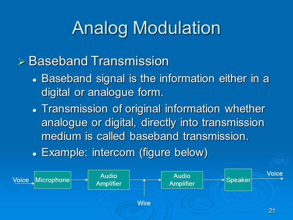 21 Analog Modulation Baseband Transmission Baseband Transmission Baseband signal is the information either in a digital or analogue form. Baseband sig