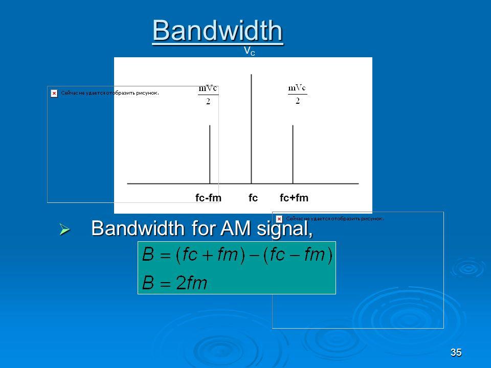 35 fc Bandwidth VCVC Bandwidth for AM signal, Bandwidth for AM signal, fc-fmfc+fm