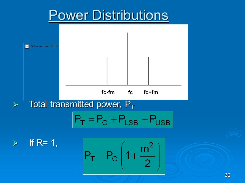 36 Power Distributions Total transmitted power, P T Total transmitted power, P T If R= 1, If R= 1, fc-fmfc+fmfc