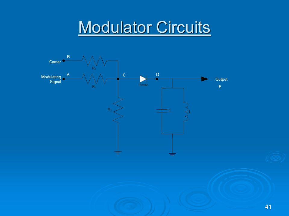 41 Modulator Circuits Modulating Signal Output Carrier A B C D E