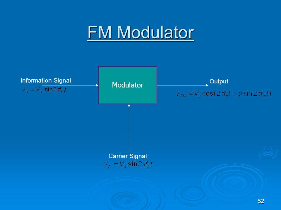 52 FM Modulator Modulator Information Signal Carrier Signal Output