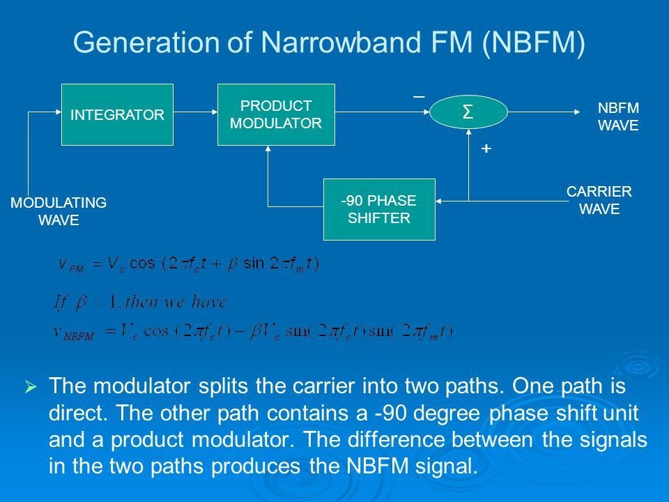 Generation of Narrowband FM (NBFM) The modulator splits the carrier into two paths. One path is direct. The other path contains a -90 degree phase shi